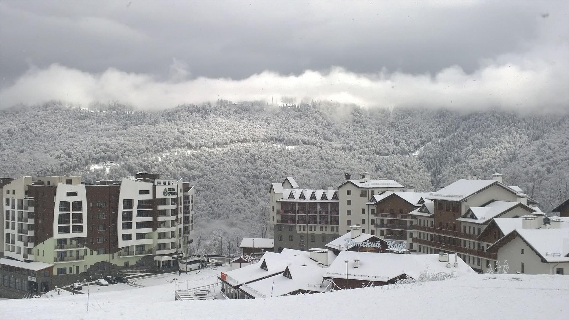 Горная олимпийская деревня зима 14