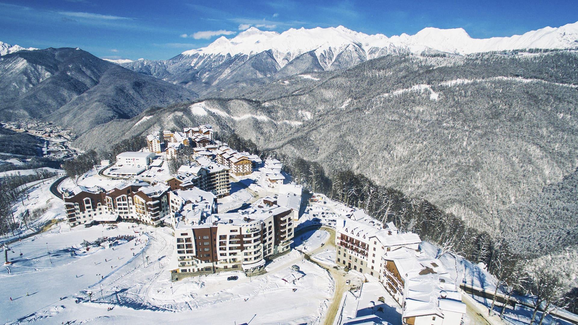 Горная олимпийская деревня зима 25